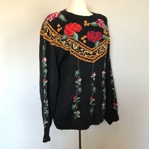 Hand embroidered vintage 80's chunky cozy sweater